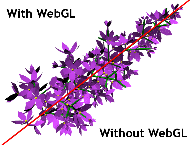 Conparison between lilac rendered with and without WebGL